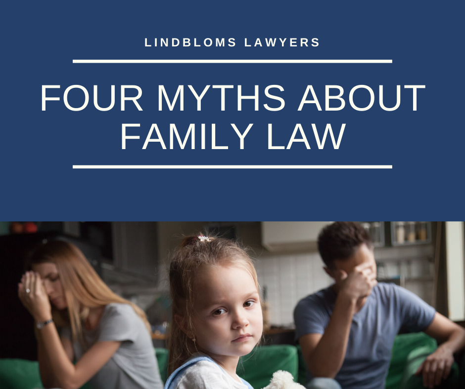 four myths about family law in white text and a picture of a child in the centre and sad parents in the background